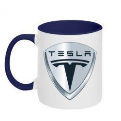 Кружка двухцветная Tesla Corp - FatLine