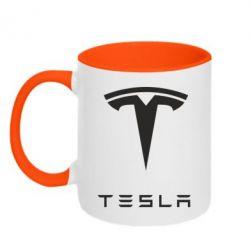 Кружка двухцветная Tesla Logo - FatLine