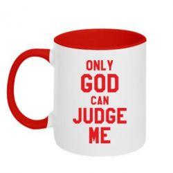 Кружка двоколірна 320ml Тільки Бог може судити мене