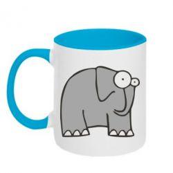 Кружка двухцветная удивленный слон - FatLine