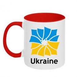 Кружка двухцветная 320ml Ukraine квадратний прапор