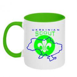 Кружка двухцветная Ukrainian Scout Map - FatLine