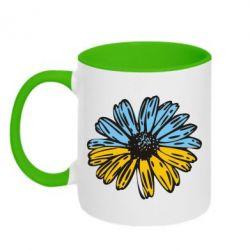 Кружка двухцветная Українська квітка - FatLine