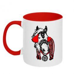 Кружка двухцветная Українській кінь - FatLine