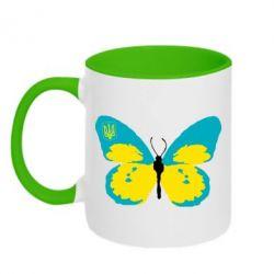 Кружка двухцветная Український метелик - FatLine