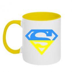 Кружка двухцветная Український Superman - FatLine