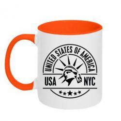 Кружка двухцветная USA NYC - FatLine