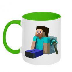 Кружка двухцветная Уставший Стив - FatLine