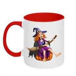 Кружка двухцветная Ведьма верхом на метле - FatLine