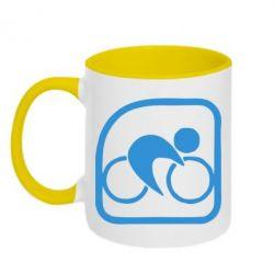 Кружка двухцветная Велоспорт - FatLine