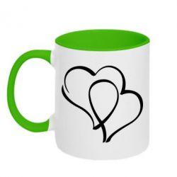 Кружка двухцветная Влюбленные сердца - FatLine