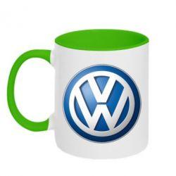 Кружка двухцветная Volkswagen 3D Logo - FatLine