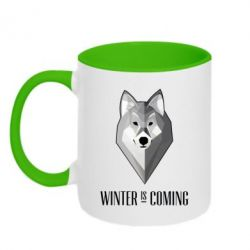 Кружка двухцветная Winter is coming Wolf