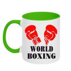 Кружка двухцветная World Boxing - FatLine