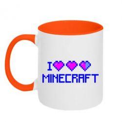 Кружка двухцветная Я люблю Minecraft - FatLine
