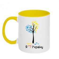 Кружка двухцветная Я люблю Україну дерево - FatLine