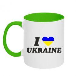 Кружка двухцветная Я люблю Украину - FatLine