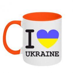 Кружка двухцветная Я люблю Україну - FatLine