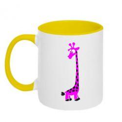 Кружка двоколірна 320ml Жираф
