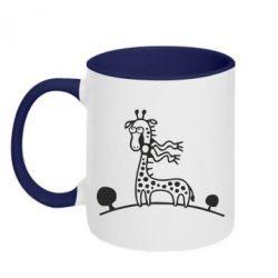 Кружка двухцветная 320ml жираф