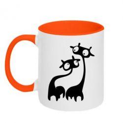 Кружка двокольорова Жирафи - FatLine