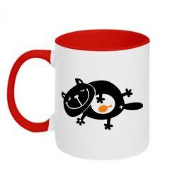 Кружка двокольорова Жирний кіт - FatLine