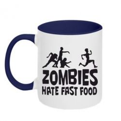 Кружка двухцветная Zombies hate fast food