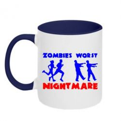 Кружка двухцветная Zombies the worst night mare - FatLine