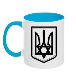 Кружка двухцветная Звезда Давида+герб - FatLine
