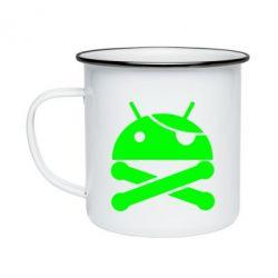 Кружка эмалированная Android Pirate