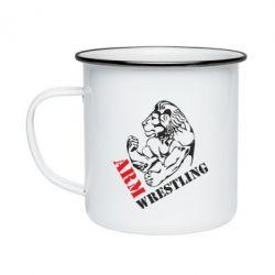 Кружка емальована Arm Wrestling