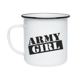 Кружка емальована Army girl