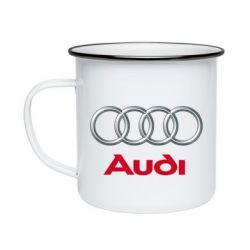Кружка емальована Audi 3D Logo