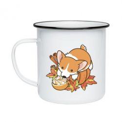 Кружка емальована Autumn Corgi