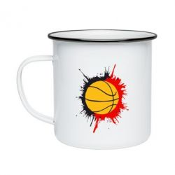 Кружка эмалированная Баскетбольный мяч - FatLine