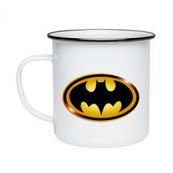 Кружка емальована Batman logo Gold