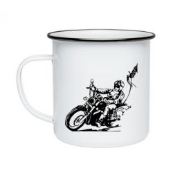 Кружка емальована Байкер на мотоциклі