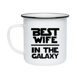 Кружка емальована Best wife in the Galaxy