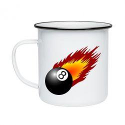 Кружка эмалированная Бильярдный шар в огне