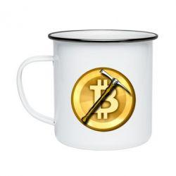 Кружка емальована Bitcoin Hammer