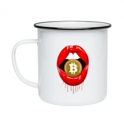 Кружка емальована Bitcoin in the teeth