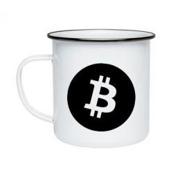 Кружка емальована Біткоин лого