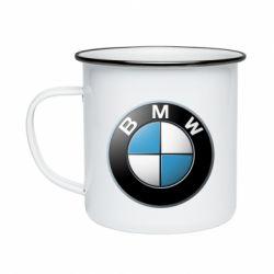 Кружка эмалированная BMW Logo 3D