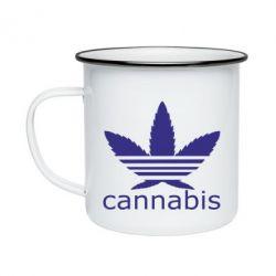 Кружка емальована Cannabis