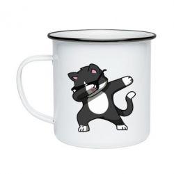 Кружка емальована Cat SWAG
