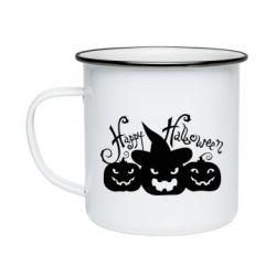 Кружка эмалированная Cчастливого Хэллоуина - FatLine