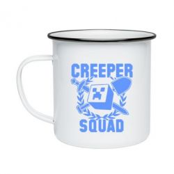 Кружка емальована Creeper Squad