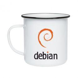 Кружка эмалированная Debian