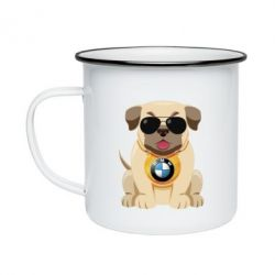 Кружка емальована Dog with a collar BMW