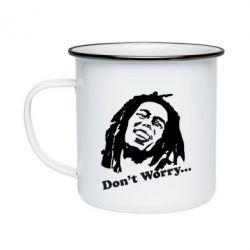Кружка эмалированная Don't Worry (Bob Marley)
